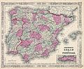 1864 Johnson Map of Spain and Portugal - Geographicus - SpainPortugal-johnson-1864.jpg