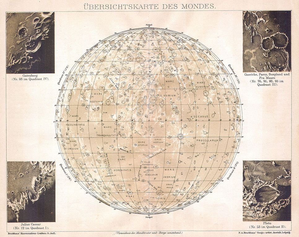 Moon Chart: 1898 Brockhaus Map of the Moon - Geographicus - Moon ,Chart