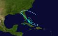 1909 Atlantic tropical storm 3 track.png