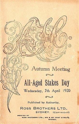 Poitrel - Image: 1920 AJC All Aged Stakes Racebook P1