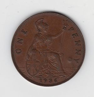 Frances Stewart, Duchess of Richmond - Britannia depicted on the reverse of a 1936 penny.