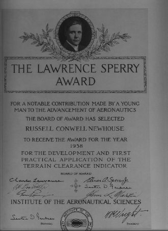 Lawrence Sperry - 1938 Lawrence Sperry Award Certificate