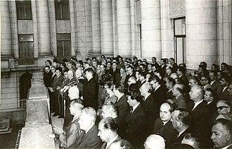 Ceaușescu's speech of 21 August 1968 - Ceaușescu gesticulating while giving his speech