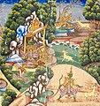 19th-century Ramayana manuscript, Rama Thagyin, Myanmar version, Ravana (Dathagiri) sends Gambi as golden deer (Shwethamin) to deceive Sita (Thida).jpg