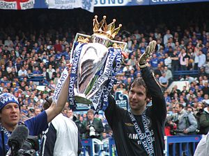 Chelsea players with the 2006 Premiership trophy