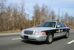State police (United States) - The North Carolina Highway Patrol patrolling Interstate 85 in March 2008.