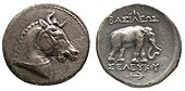 Tetradrachm of Seleucus I, the horned horse, the elephant and the anchor were all used as symbols of the Seleucid monarchy.[1][2]
