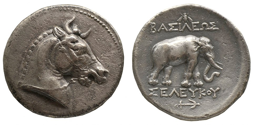 Tetradrachm of Seleucus I - the horned horse, the elephant and the anchor all served as symbols of the Seleucid monarchy.[1][2] of Seleucid Empire