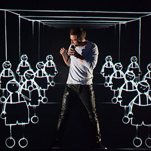 "Måns Zelmerlöw - Zelmerlöw performing ""Heroes"" at the Eurovision Song Contest 2015."