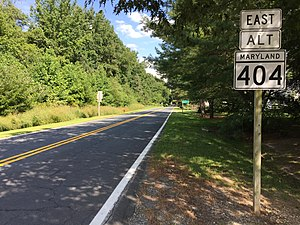 Maryland Route 404 - MD 404 Alt. eastbound near Queen Anne