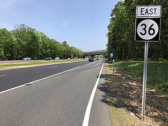 New Jersey Route 36 - Route 36 eastbound past its southern terminus at the Garden State Parkway and CR 51 in Eatontown