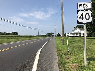 Upper Pittsgrove Township, New Jersey - U.S. Route 40 westbound in Upper Pittsgrove Township