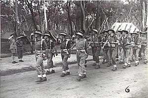 The 2/11th Commando Squadron marches past the Duke of Gloucester at Ravenshoe, Queensland, 14 February 1945