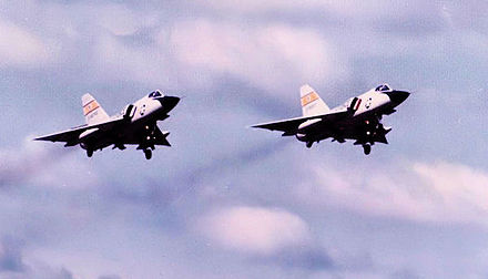 F-106s of the 2d FIS taking off from Wurtsmith, 1972 - Wurtsmith Air Force Base