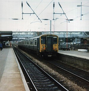 Peterborough railway station - British Rail Class 317 in Peterborough.