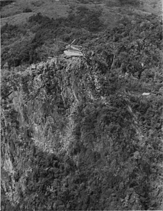 The Rockpile - A resupply helicopter landing on the Rockpile's summit in 1967