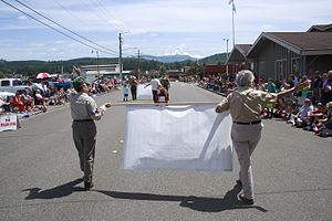 Eatonville, Washington - Independence Day parade in 2014.  Mount Rainier can be seen in background.