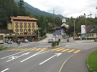 Innertkirchen - Center of Innertkirchen, at the crossroads between the Susten and Grimsel Pass