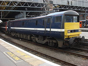 British Rail Class 91 - 91115 running flat end first at London King's Cross