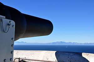 False Bay - A historic 9 inch gun overlooking False Bay installed at Simon's Town in the 1800s by the British to defend the bay.