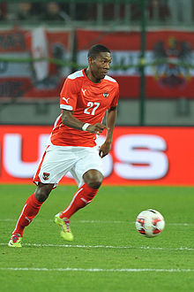 Alaba playing for Austria in 2014