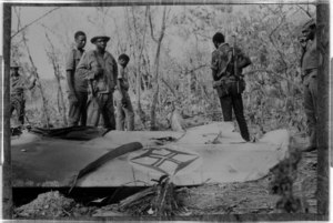 Portuguese plane shot down in Guinea-Bissau with PAIGC soldiers, 1974