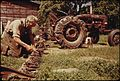 A 60-YEAR-OLD BACHELOR FARMER FROM BEANVILLE, NEAR RANDOLPH, VERMONT, ADJUSTS THE BLADES OF HIS MOWER BEFORE GOING... - NARA - 555528.jpg