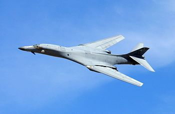 A B-1 Lancer performs a fly-by during a firepower demonstration.jpg