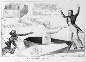 Galvanism - Cartoon of a galvanised corpse