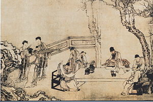 a gathering of Chinese literati sitting in a b...