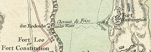 Fort Lee Historic Park - 1777 map detail showing the chevaux-de-frise between Fort Lee and Fort Washington