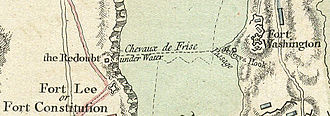 Hudson River Chain - 1777 map detail showing the chevaux-de-frise between Fort Lee and Fort Washington