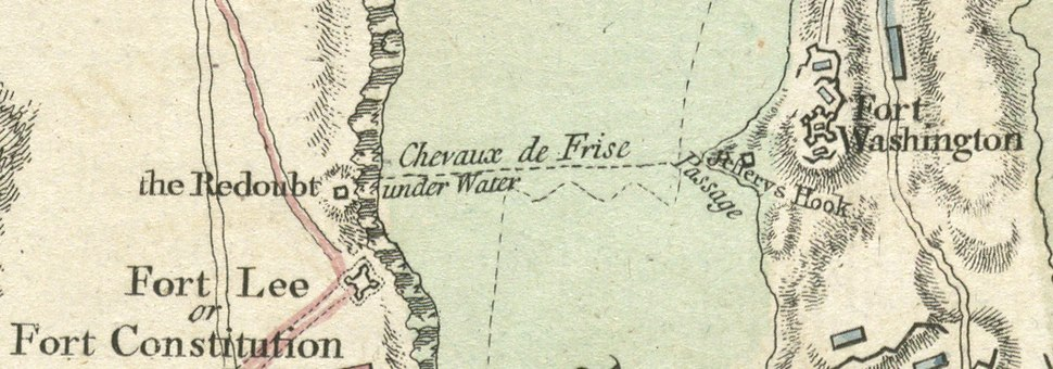 A plan of the operations of the King's army, Chevaux de Frise between Fort Lee and Fort Washington, detail