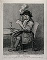 "A politician engrossed in reading the ""Gazetteer"" and burnin Wellcome V0049282.jpg"