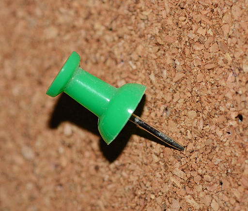 A thumb tack AKA push pin on a cork board