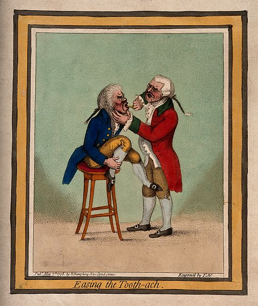 File:A tooth-drawer extracting a tooth from a patient who is seat Wellcome V0012059.jpg