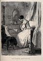 A woman sitting on a bed picking fleas from her clothes. Lit Wellcome V0019957.jpg