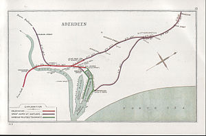 Aberdeen railway station - A 1913 Railway Clearing House Junction Diagram showing railways in the vicinity of Aberdeen (present station shown here as JOINT PASS. STA.)