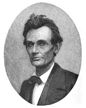 A Timothy Cole wood engraving taken from a May 20, 1860, ambrotype of Lincoln, two days following his nomination for president AbrLincoln1860ColeT.jpg