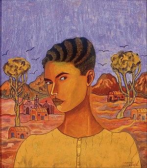 Abraham Ángel - Self-portrait (1923), oil on cardboard,  810 × 725 mm (31.9 × 28.5 in), Museo Nacional de Arte.