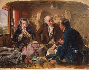 Painting shows a first class railway carriage. A young man and an older man talk as a young woman looks on.