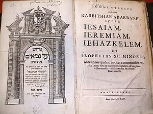 Isaac Abarbanel - Title page of a 1642 Hebrew and Latin edition of Abarbanel's commentary on the minor prophets, Perush 'al Nevi'im ahronim.