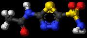 Pilk-kaj-bastona modelo de la acetazolamidmolekulo