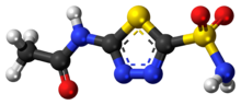 Ball-and-stick model of the acetazolamide molecule