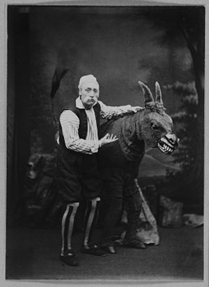 Pantomime horse - Actor with pantomime horse from 1869 or 1870