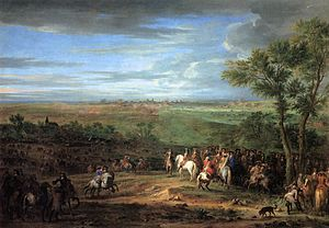 Adam Frans van der Meulen - Louis XIV Arriving in the Camp in front of Maastricht - WGA15110.jpg