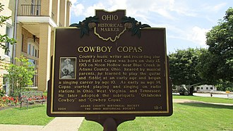 Cowboy Copas - Cowboy Copas Ohio Historical Marker at the Adams County Courthouse in West Union, Ohio