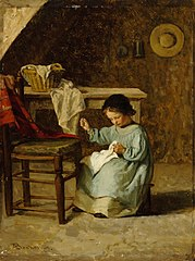 Girl Sewing