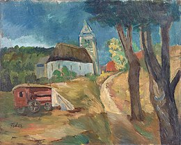 Adolphe Feder Village landscape with carriage.jpg