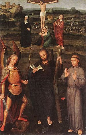 Archangel St Michael, St Andrew and St Francis of Assisi with the Calvary